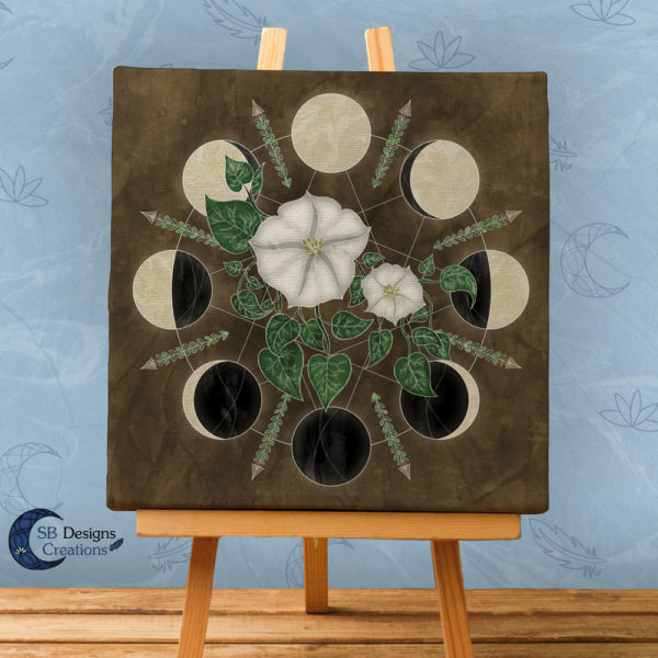 Moon Flowers Moon Phases - Moonwitch - Maanfasen Kunst - Pagan huis - Heksenhuis-SB Designs Creations