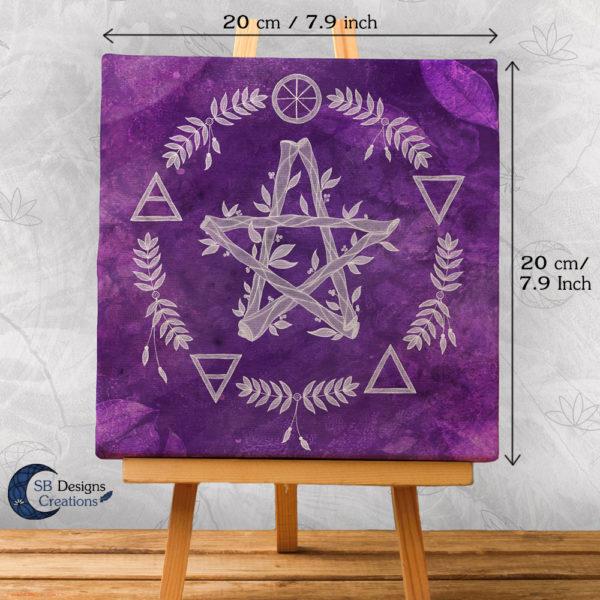 Paars Pentagram Canvas Art Elementen - Spirituele Heks - Heksenhuis-SBDesignsCreations-2
