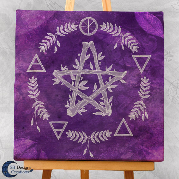 Paars Pentagram Canvas Art Elementen - Spirituele Heks - Heksenhuis-SBDesignsCreations-3