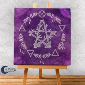 Paars Pentagram Canvas Art Elementen - Spirituele Heks - Heksenhuis-SBDesignsCreations