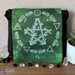 Pentagram Groen Elementen Pagan Heks Tas-1