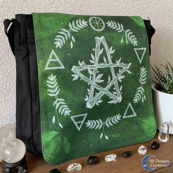Pentagram Groen Elementen Pagan Heks Tas-2