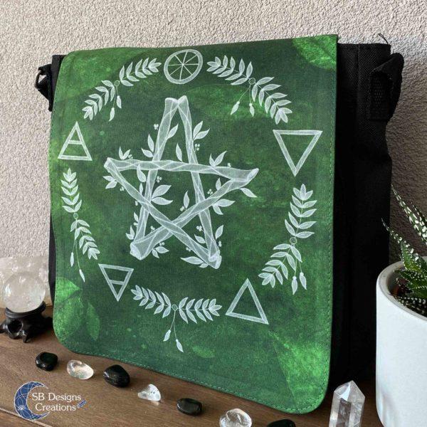 Pentagram Groen Elementen Pagan Heks Tas-3