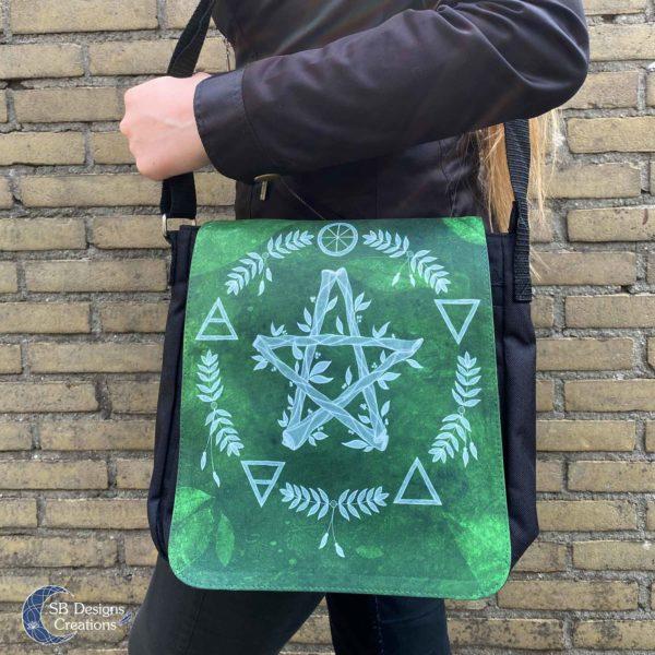 Pentagram Groen Elementen Pagan Heks Tas-4