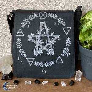 Pentagram Zwart Elementen Pagan Heks Tas-2