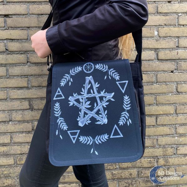 Pentagram Zwart Elementen Pagan Heks Tas-5
