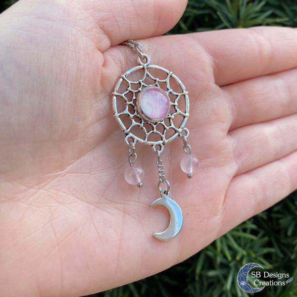 Rozenkwarts dromenvanger roze met maan-4