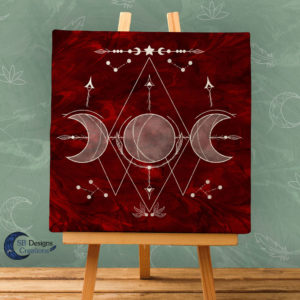 Triple Moon Red-White Canvas Art-Witchy Vibes-Moonchild Home-1