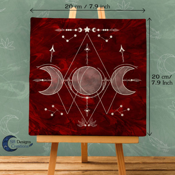 Triple Moon Red-White Canvas Art-Witchy Vibes-Moonchild Home-2