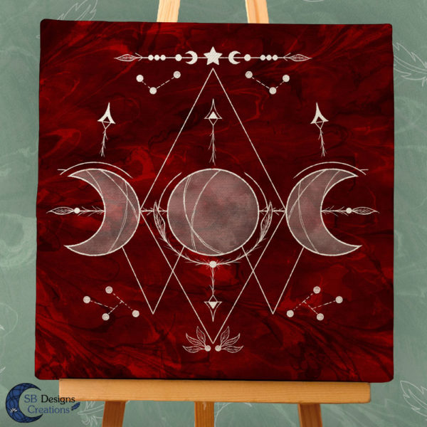 Triple Moon Red-White Canvas Art-Witchy Vibes-Moonchild Home-3