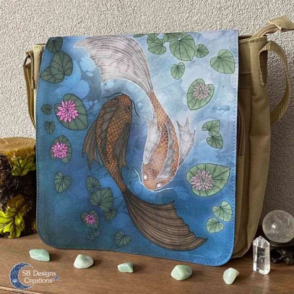 Yin-Yang-Koi-Carp--Shoulder-Bag-Brown-Messenger-Bag-SBDesignsCreations-2