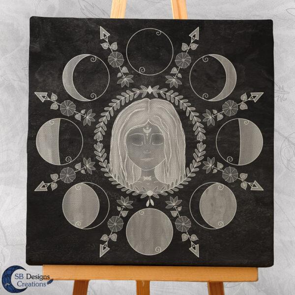 Moedergodin Maangodin illustratie Maanfasen-3