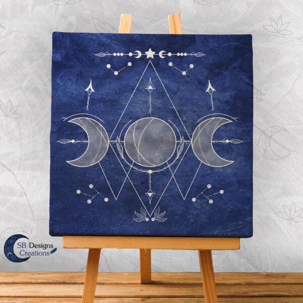 Triple Moon Art-Blauw-Maanheks