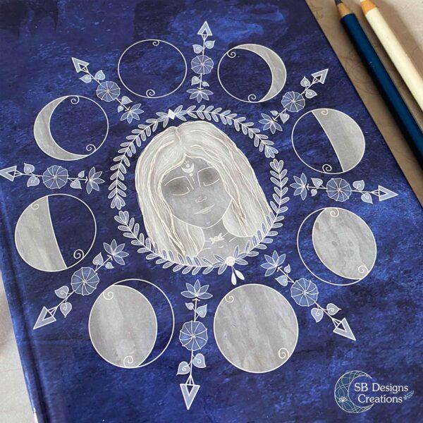 Maangodin Journal Maandagboek Maanfasen Blauw-3