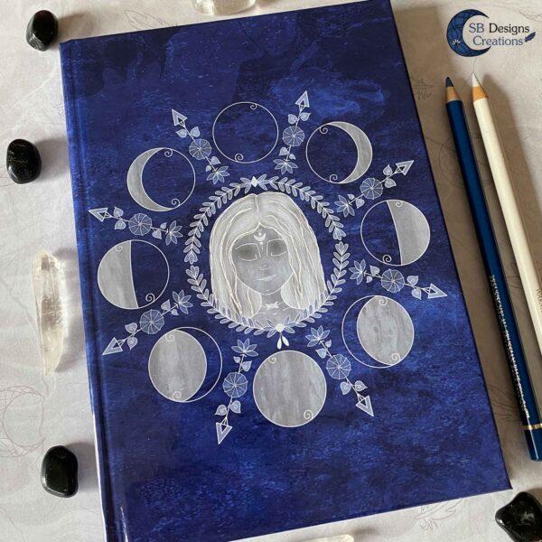 Maangodin Journal Maandagboek Maanfasen Blauw-4