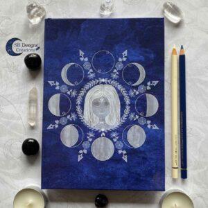 Maangodin Notitieboek Heks Heksendingen Maankind Maanfasen Blauw