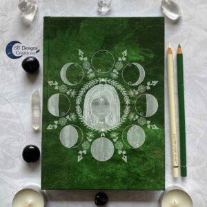 Maangodin Notitieboek Heks Heksendingen Maankind Maanfasen Groen