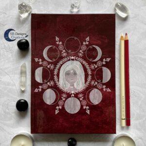 Maangodin Notitieboek Heks Heksendingen Maankind Maanfasen Rood