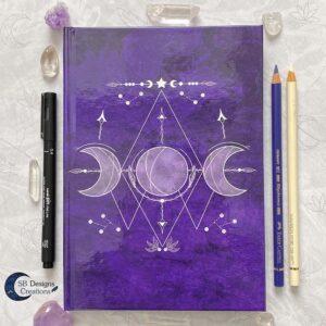 Drievoudige Maan Hardcover Notitieboek A5 Art Journal Spellbook Heks BOS Magisch Dagboek-1