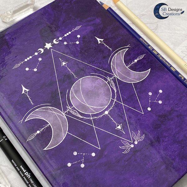 Drievoudige Maan Hardcover Notitieboek A5 Art Journal Spellbook Heks BOS Magisch Dagboek-4