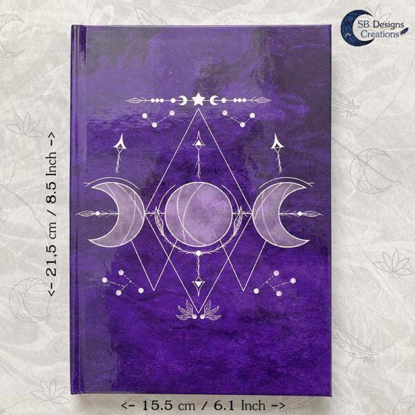 Drievoudige Maan Hardcover Notitieboek A5 Art Journal Spellbook Heks BOS Magisch Dagboek-7