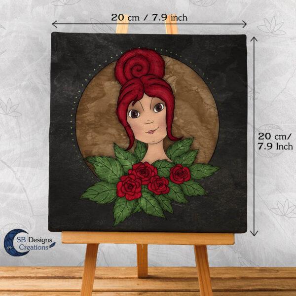 Flora Flower Goddess- Bloem Godin Flora - Canvas Art - Black-2