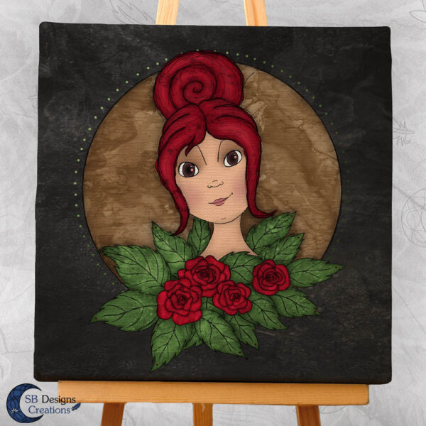 Flora Flower Goddess- Bloem Godin Flora - Canvas Art - Black-3