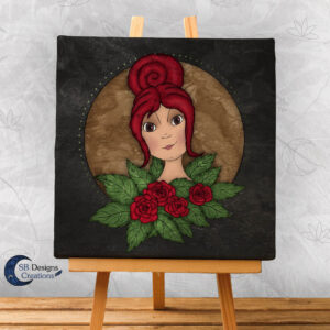 Flora Flower Goddess- Bloem Godin Flora - Canvas Art - Black