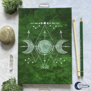 Groene Heks Maan Journal Notebook Triple Moon