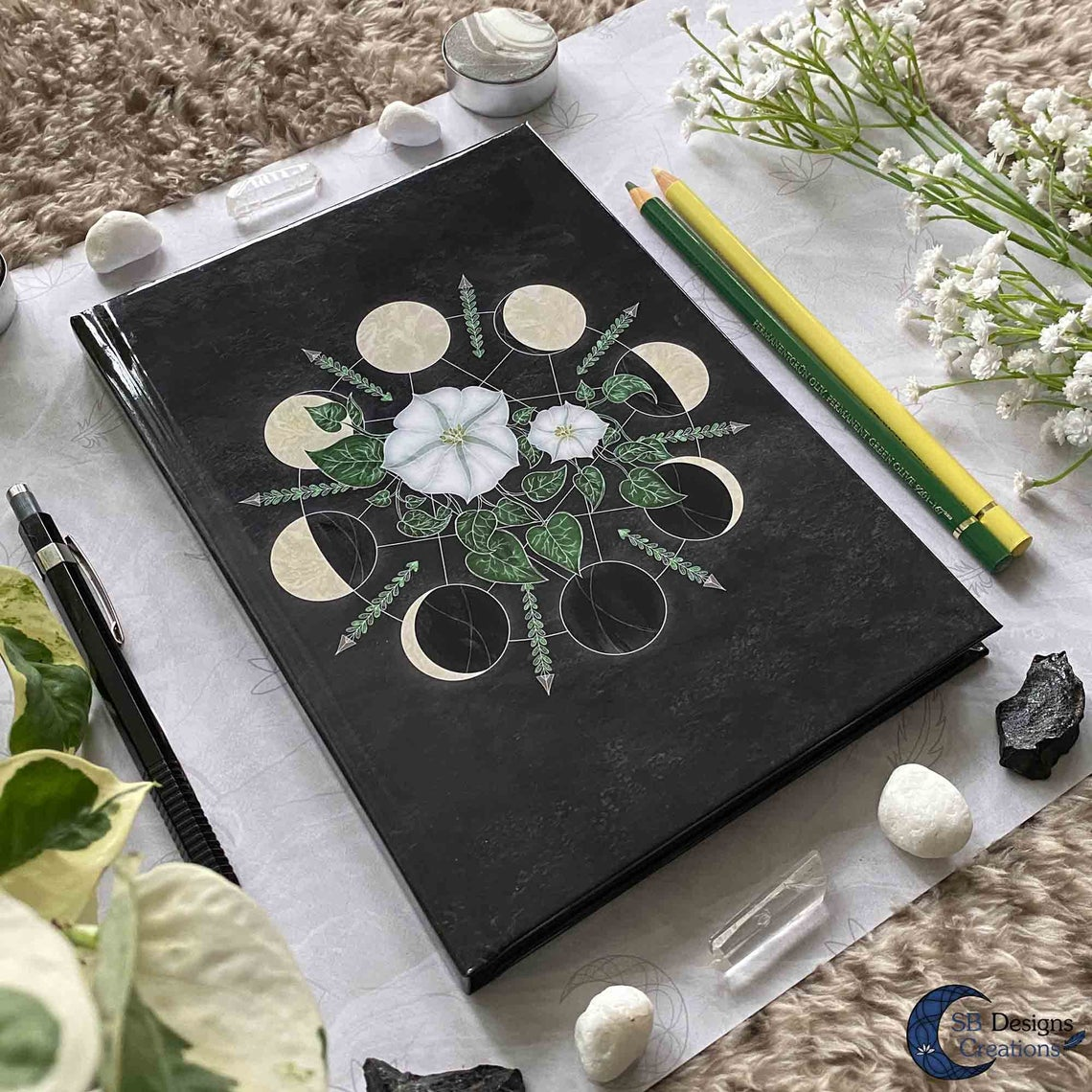 Lunar Phases Art Journal Notebook A5 Hardcover
