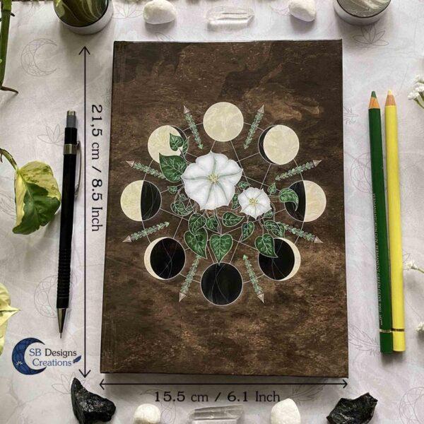 Maan notitieboek Journal Maanfasen met Bloemen Maat A5