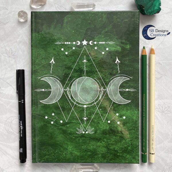 Maanheks Maanfasen Drievoudige Maan Notitieboek Moon Journal Earth Green SB Designs Creations-1