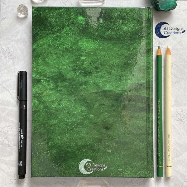 Maanheks Maanfasen Drievoudige Maan Notitieboek Moon Journal Earth Green SB Designs Creations-2