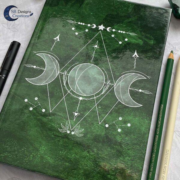 Maanheks Maanfasen Drievoudige Maan Notitieboek Moon Journal Earth Green SB Designs Creations-3