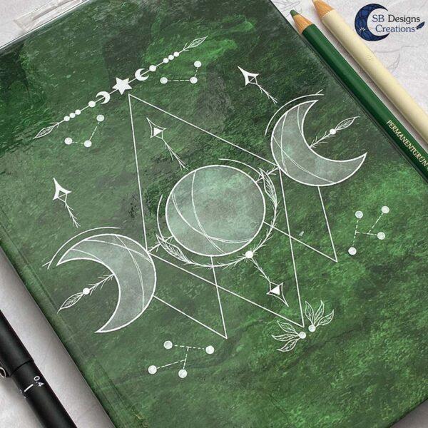 Maanheks Maanfasen Drievoudige Maan Notitieboek Moon Journal Earth Green SB Designs Creations-4
