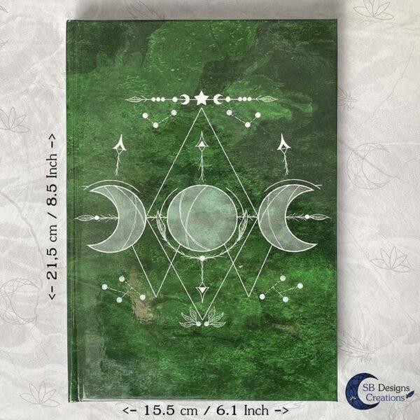 Maanheks Maanfasen Drievoudige Maan Notitieboek Moon Journal Earth Green SB Designs Creations-7