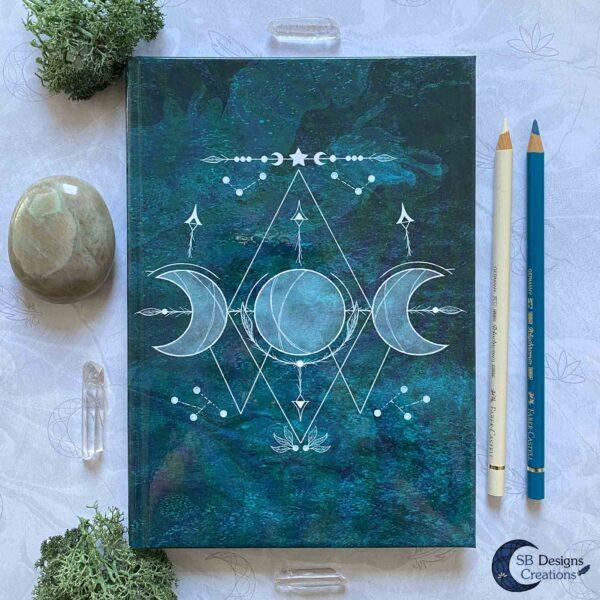 Teal-Groen-Blauw-Notitieboek-Maan Journal Maanmagie