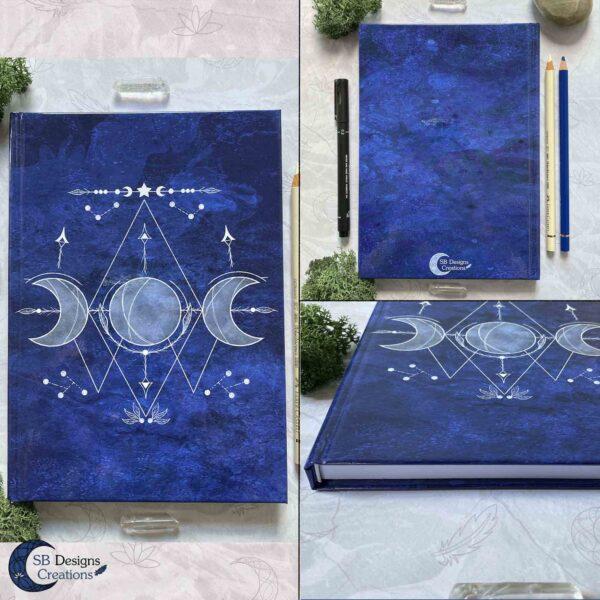 Triple Moon Notitieboek Voorbeeld achterkant en zijkant