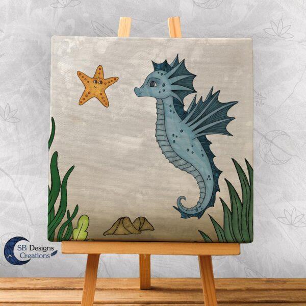 Zeepaardje Kinderkamer Decoratie Canvas Blauw-1