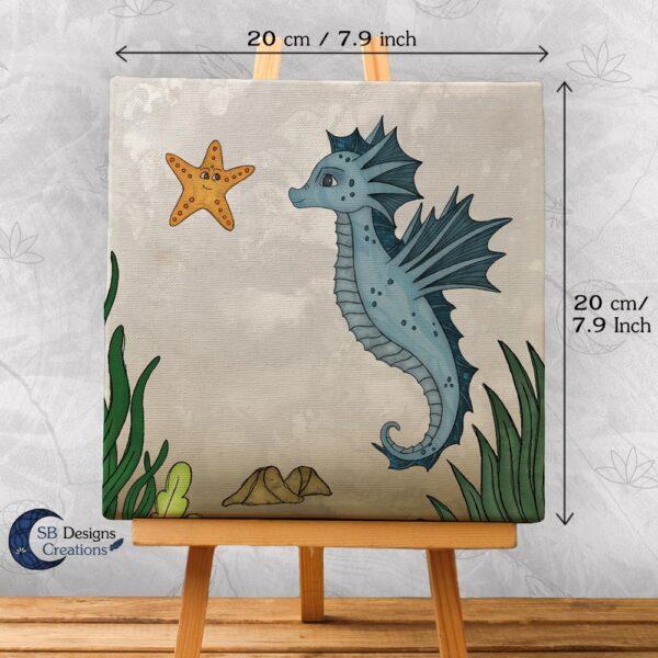Zeepaardje Kinderkamer Decoratie Canvas Blauw-2
