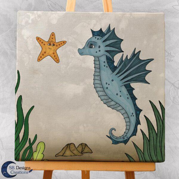 Zeepaardje Kinderkamer Decoratie Canvas Blauw-3