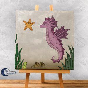 Zeepaardje Kinderkamer Decoratie Canvas Roze-1