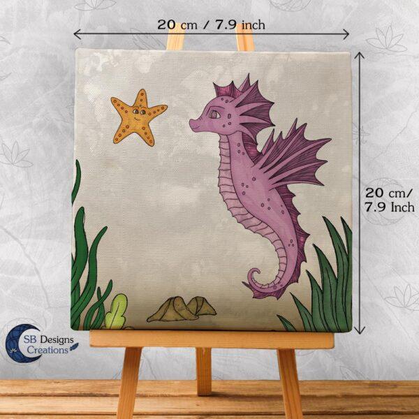 Zeepaardje Kinderkamer Decoratie Canvas Roze-2