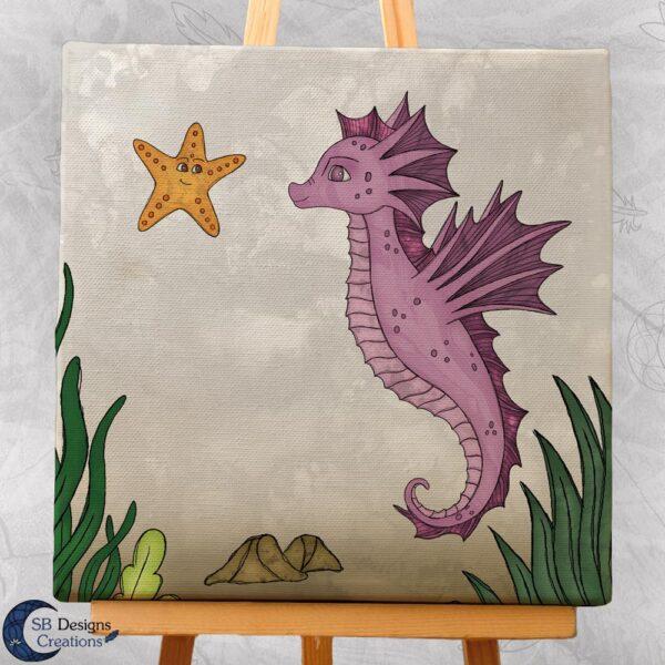 Zeepaardje Kinderkamer Decoratie Canvas Roze-3