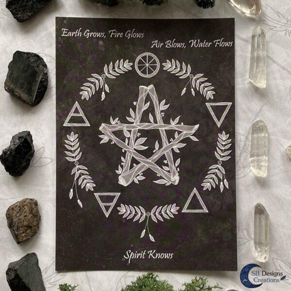 Elementen Magie Pentagram Quote Kaart