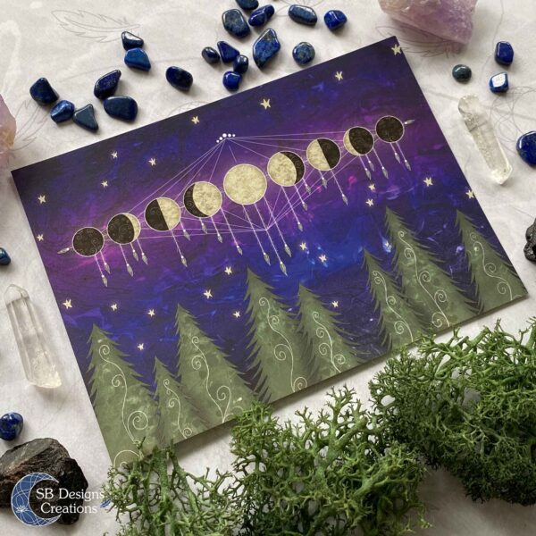 Moon postcard with the phases