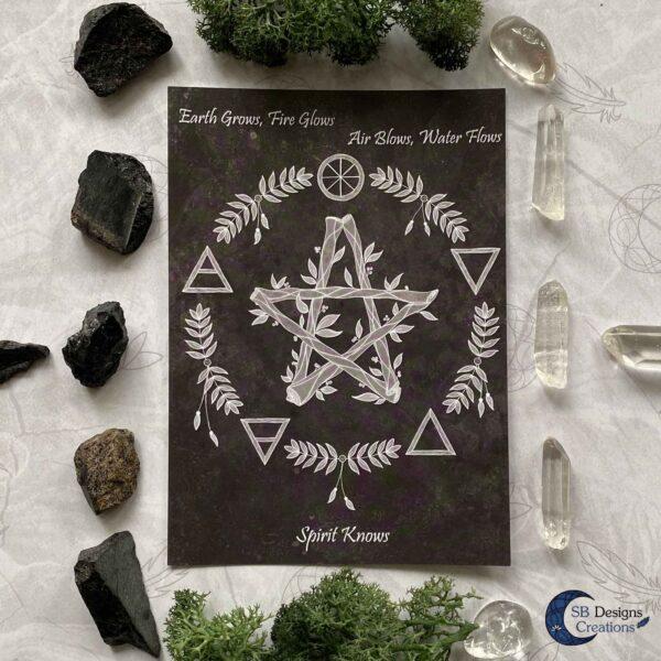 Pentagram Elementen Heks Magie Hekserij