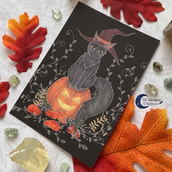 Pompoen Halloween Kat Ansichtkaart Print a6