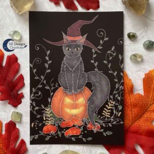 Samhain Art Black Cat Zwarte Kat Hekserij Pagan Art
