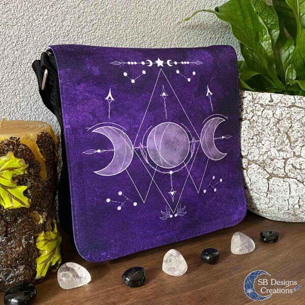 Triple Moon Symbool Dievoudige maan teken paarse schoudertas